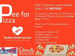 Pee for Pizza. Step 1: Submit a urine sample. Step 2: Get FREE PIZZA! Get tested for Gonorrhea and Chlamydia at the Student Wellness Center and get free pizza in return. Other free STI testing available upon request. October 6th October 21st. 12:00pm-4:00pm. Student Wellness Center. (316)-978-4792. Appointment Required.