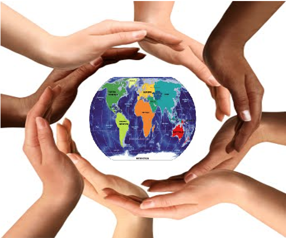 Image of hands of different colors holding the globe.