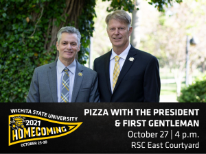 The graphic features a photo of President Rick Muma and first gentleman Rick Case with the text Pizza with the President Wednesday, October twenty-seventh from four to five P M in the Rhatigan Student Center east courtyard.